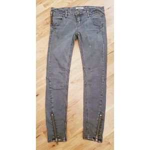 Free People Grey Moto Cropped Jeans Size 26